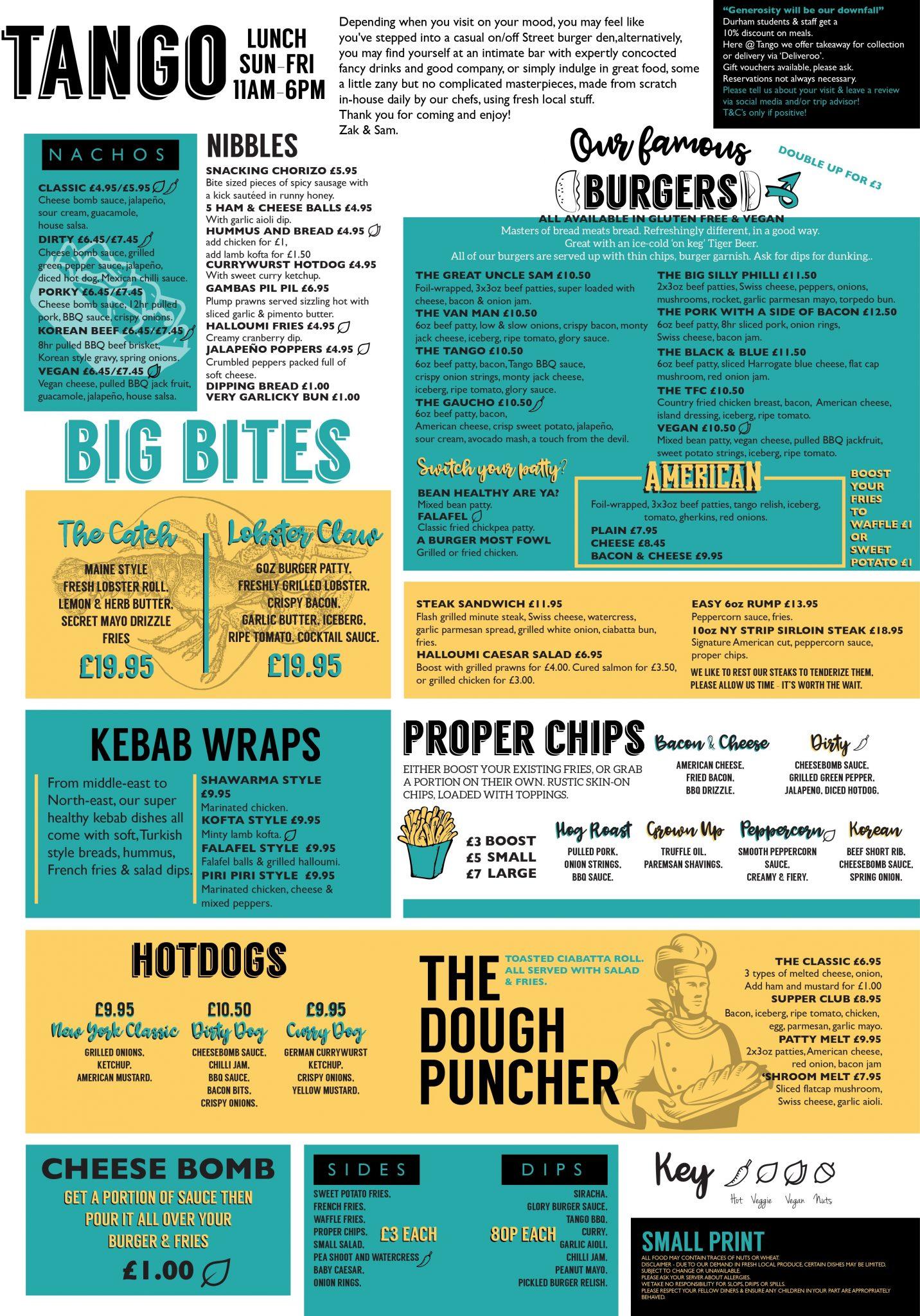 Tango lunch menu