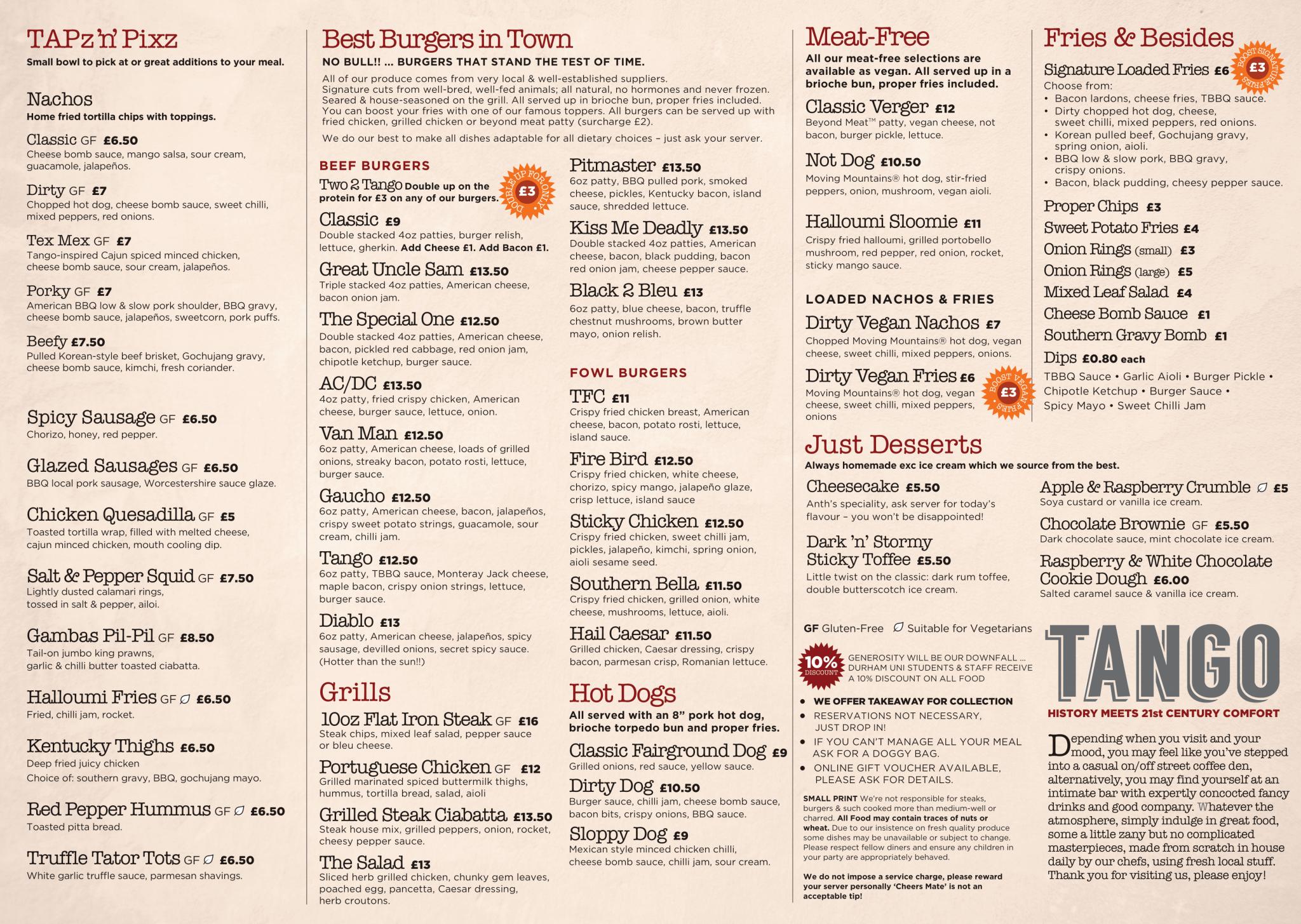 Tango menu March 2021